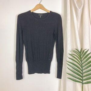 Escada Sport Black Knit Button Cuff Sweater Ribbed